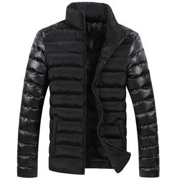 Winter Men Down Jacket Black Fashion Casual Blue Slim Fit Thicken PU Leather Coat Doudoune Homme Hiver Marque