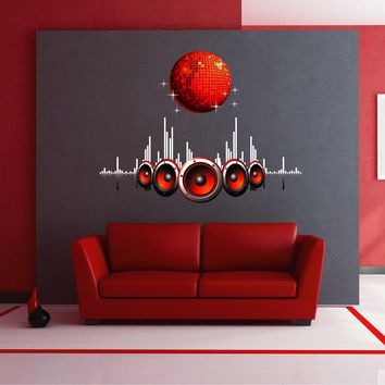 cik1566 Full Color Wall decal music disco ball equalizer column hall bedroom studio nightclub