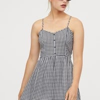 Short Dress - Black/white checked - Ladies | H&M US