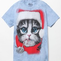 The Mountain Santa Cat T-Shirt - Mens Tee - Blue