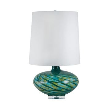 312 Big Bang Blown Glass Table Lamp In Blue Swirl
