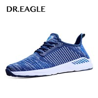 DR.EAGLE 2017 mens shoes Summer male sports shoes Flyknit Krasovki zapatillas Breathable running shoes Men's Athletic Sneakers