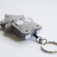 Hippo felt key ring, grey, made to order