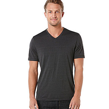 Perry Ellis Short-Sleeve Stripe V-Neck Tee