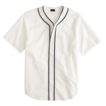 J.Crew Mens Short-Sleeve Vintage Oxford Baseball Shirt