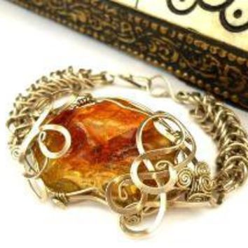 Wire Wrap Metal Bracelet with Amber stone by Hyppiechic on Etsy
