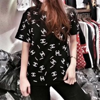 """Chanel"" Fashion Casual Letter Logo Print Short Sleeve T-shirt Women Shirt Top Tee"