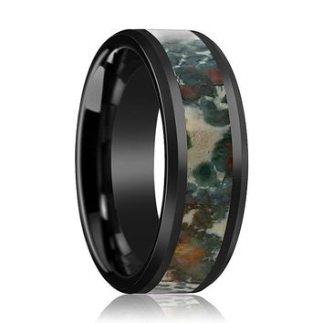 TRACE Men's Black Ceramic Wedding Band with Coprolite Fossil Inlay and Bevels - 8MM