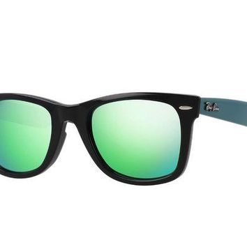 Kalete Ray Ban Wayfarer Sunglasses RB2140 1175/19 50MM Black Frame / Green Mirror Lens
