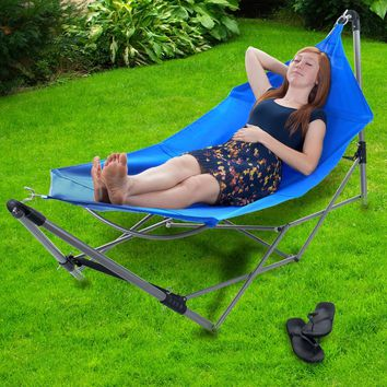 Portable Hammock with Frame Stand and Carrying Bag - Blue