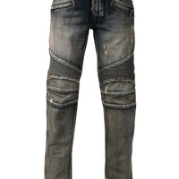 Balmain ribbed motorcycle jeans