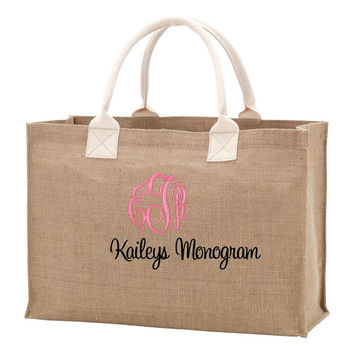 Monogrammed Burlap Tote Bag Personalized Tote Kaileys Monogram kaileysmonogram Bride Bridesmaid Travel