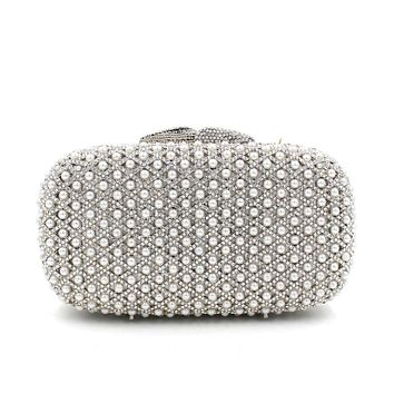 Pearl  Luxury  Rhinestone Crystal Minaudiere Party Hanbdag