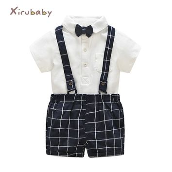 Summer Baby Boys Clothes Suits Infant Cotton Gentleman Sets Short Sleeves Tie Rompers+Plaid Straps Shorts Children Kids Clothing