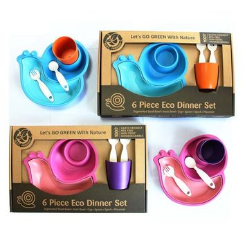 ECO-friendly Kids  Dinner Set With Segmented Snail Bowl, Inset Bowl, Cup, Spoon, Spork and Placemat