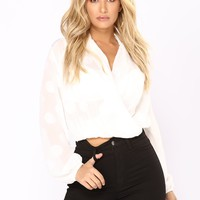 After Thought Polka Dot Top - White