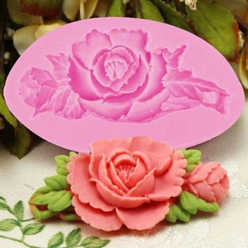 3D Rose Flower Cake Silicone Mold Fondant Cake Decorating Chocolate Candy Molds Resin Clay Soap Mould Kitchen Baking Cake Tools