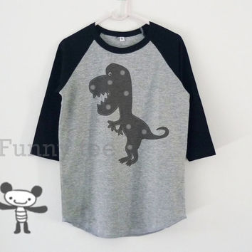 Funny T rex dinosaur toddlers children raglan shirt for kids boy girl clothing gift ideas