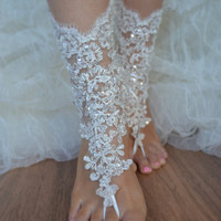 barefoot sandals, iovry Beach wedding shoes, bangle beach anklets, barefoot sandals, bridal bride bridesmaid, Free ship