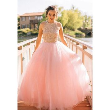 Blush Pink Beading Prom Dress 2017 A Line Floor Length Tulle Evening Dress Women Formal Party Gowns WH87