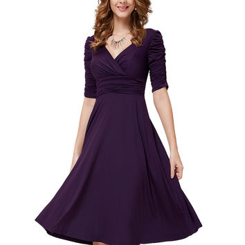Cocktail Dresses Ever Pretty AS03632 Short  Cocktail dresses Half-Length Sleeves High Stretch Plus Size Cocktail Dresses