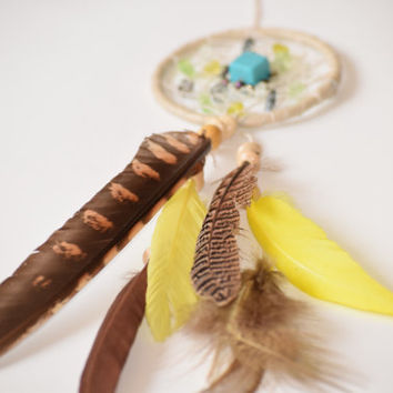 Car Accessory, Mini Dream catcher, Rear View Mirror, Small  Boho Dreamcatcher, Mirror Charm, For women.