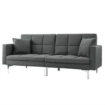 Grey Linen Split-Back Modern Sleeper Sofa Couch
