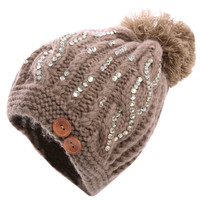 Lady's Cute Stretchy Spliced Sequin Decor Pom Pom Beanie