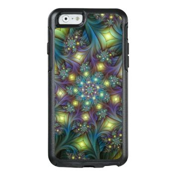 Illuminated modern blue purple Fractal Pattern OtterBox iPhone 6/6s Case