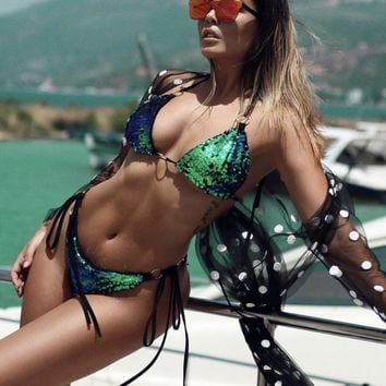 Nice Luxury Green Sequin Bikini