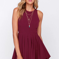 Pleat My Shorts Burgundy Romper