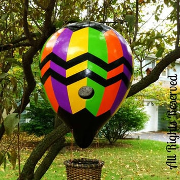 Hot Air Balloon Birdhouse LARGE Gourd Hand Painted Bright Hot Colors- Fabulous! SPECTACuLaR Gift - Designs by Sugarbear GoURD ART ORiGINALs!