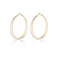 River Island Womens Gold tone glittery double hoop earrings