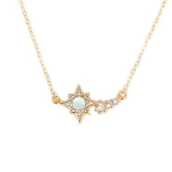 Opal and Topaz Shooting Star Pendant