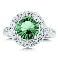Sterling Silver 925 Round Emerald-Green Cubic Zirconia CZ Ring #r321