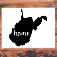 West Virginia Home Decal | West Virginia Decal | Homestate Decals | Love Sticker | Love Decal  | Country | Car Decal | Car Stickers | 140