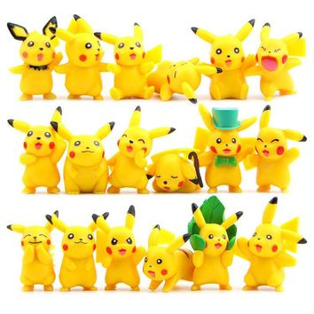 18PCS/SET ed Pikachued Pocketed elf figure action DIY Decoration ornament children gifts Pocketed pet Y24Kawaii Pokemon go  AT_89_9