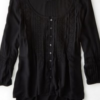 AEO Women's Pintucked Peasant Shirt (True Black)