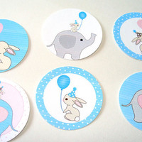 Baby Blue Elephants And Bunny Stickers Or Envelope Seals Set of 30 Birthday Shower Baby