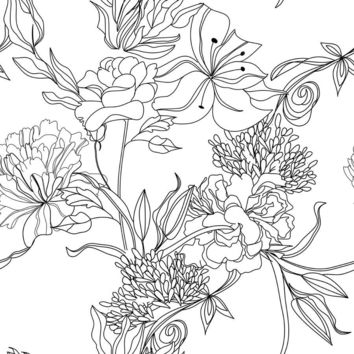 Sketch Floral Wallpaper