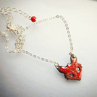 Tiny red fox necklace, whimsical red necklace, enamel pendant, bohemian nature enamel jewelry