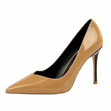 Patent Leather Pointed Toe Pumps Women Super High Heel Pumps