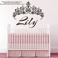 Princess Crown Wall Decals Custom Personalized Name Sticker Tiara Little Girls Room Vinyl Decal Baby Kids Nursery Children's Room Decor Art Mural SM181