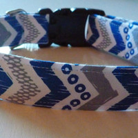 Chevron Dog Collar  Blue and Grey with Blue by katiesk9kollars