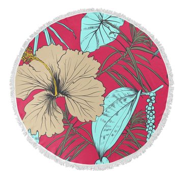 TROPICAL BLOSSOM Round Beach Towel By Terri Ellis
