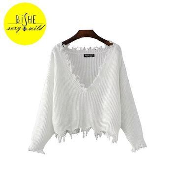 BISHE Sexy V-Neck Women Sweater Batwing Long Sleeve Tassel Kintted Women Sweaters And Pullovers Off Shoulder Ripped Sweaters