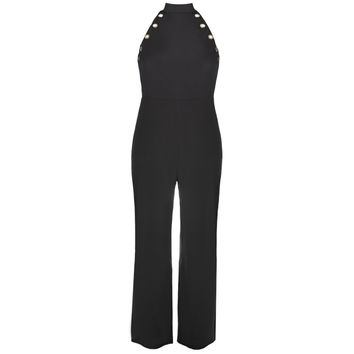 Gold Hardware Halter Jumpsuit, Black