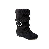 Girls Kids Ositos Daysi-K Black Tall Ruched Fold Over Knit Boots
