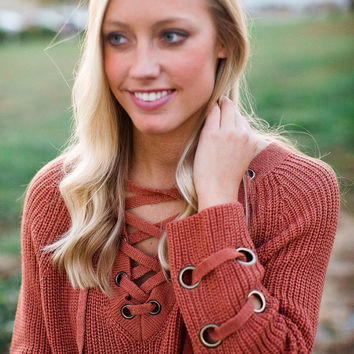 Tie Detail Sweater in Marsala
