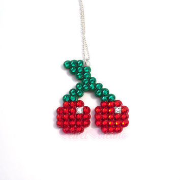 Sparkly Rockabilly Cherry Necklace - Crystal Rhinestone Encrusted Pixel Fruit Pendant - Red & Green Psychobilly Pin Up Burlesque Jewellery
